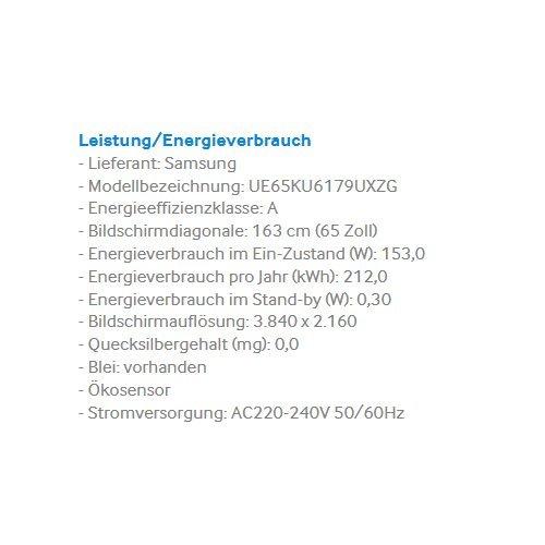 Samsung KU6179 163 cm (65 Zoll) Curved Fernseher (Ultra HD