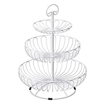 BESTLEE 3-Tier Plates Stand Fruits Cakes Desserts Candy Buffet Stand for Wedding &Home&Party White