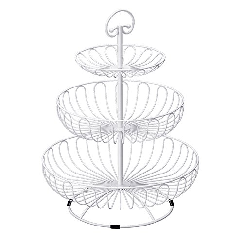 BESTLEE 3-Tier Plates Stand Fruits Cakes Desserts Candy Buffet Stand for Wedding &Home&Party White by BESTLEE