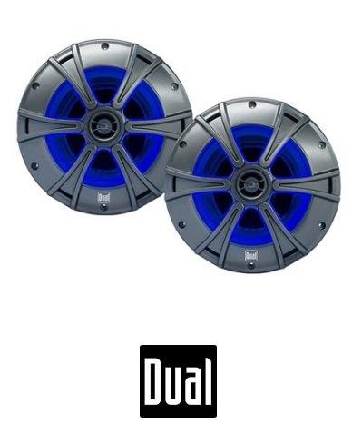 "Dual DMS8027 8"" Inch 2-Way Marine Speaker with Blue illumiNITE Accent Lighting"
