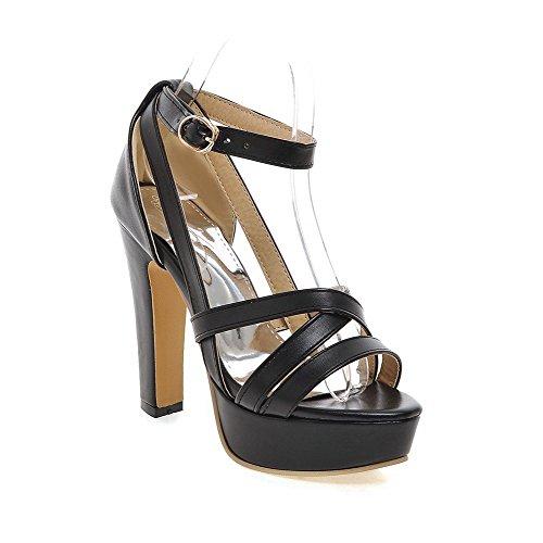Amoonyfashion Womens Buckle Pu Open Teen High-heels Solide Sandalen Zwart