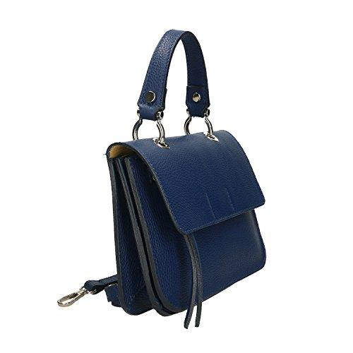 Sac main Italie en véritable 23x17x7 Chicca Cm Bleu Borse Petit Clutch à cuir Femme en fabriqué IxqYFaUB