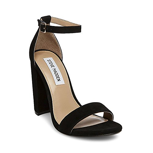 Steve Madden Women's Carrson Dress Sandal, Black Suede, 7 M US