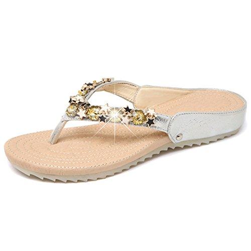 SHANLY Sandalias De Bohemia del Verano De Las Mujeres Rhinestone Clip Toe Beach Flip Flop Roman Pool Shoes Slipper Tangas Silver