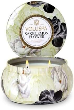 Voluspa Sake Lemon Flower 2 Wick Maison Metallo Candle 11 oz
