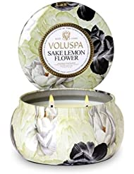 Voluspa Sake Lemon Flower 2 Wick Maison Metallo Candle 11 oz