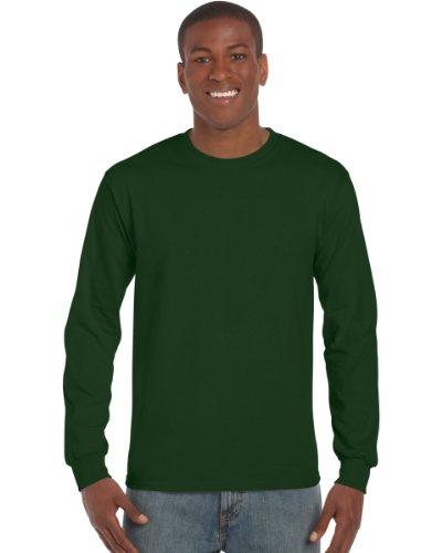 Gildan Mens Plain Crew Neck Ultra Cotton Long Sleeve T-Shirt (L) (Forest - T-shirt Cotton Ultra Heavyweight