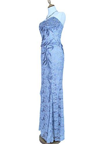 Langes Spitzenkleid Abendkleid 8072 mit Träger silber Gr. 34 - 44