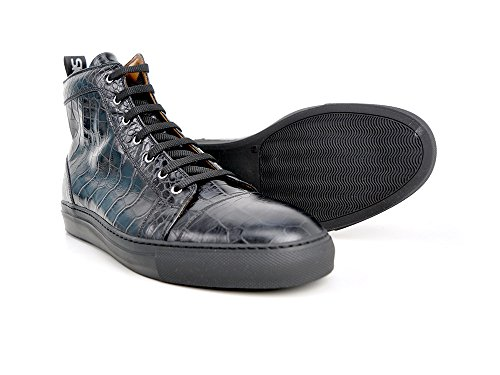 Ukendt Gianmarco - Høj Øverste Sneakers Sort Krokopræget Udskrive Deres Egen Luksus High-top Sneakers Og Sorte Med Krokodille-print, 100% Håndlavet I Italien.