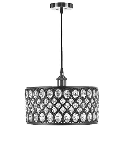 Diamond Life 1-light Black Finish Modern Crystal Chandelier Pendant Hanging Lighting Fixture