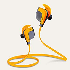 "Bluetooth Headphones - Fit Acoustics Wireless Earbuds. Patented ""Stays In Ears"" Design. Noise cancelling with mic. Great Gift Sport Workout Earphones. Works iPhone and Android - Amazon Orange"