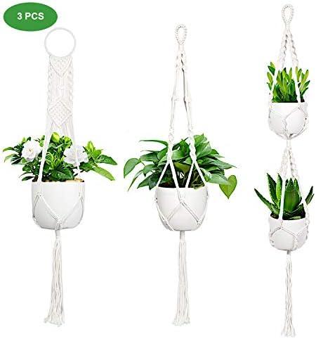 Futone Macrame Plant Hangers Indoor, Cotton Hanging Planter, Handmade Boho Decor for Home 3 PCS
