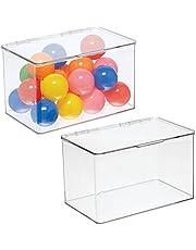 mDesign Zestaw 2 pudełek do przechowywania z pokrywką – składane pudełko do pokoju dziecięcego – praktyczne przechowywanie zabawek z tworzywa sztucznego – przezroczyste