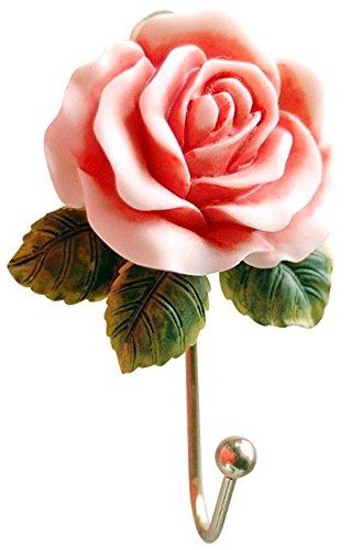 C-Pioneer Wall Mounted Vintage Handmade Resin Coat Hat Robe Towel Hook Hanger - Hook Rose