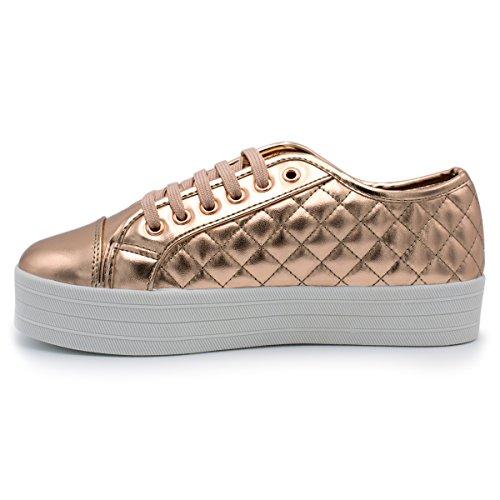 Breckelles - Womens Mjuka Vadderade Mode Sneaker Ökade Guld