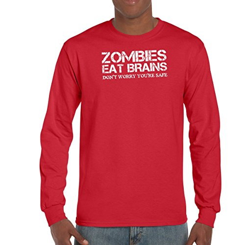 AW Fashion's Zombies Eat Brains Don't Worry you are safe - Cool Funny Tee Men's Long Sleeve Tee (XX-Large, - Long Sleeve Funny Zombies
