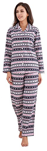 Richie House Women's Cotton Print Fleece Two-piece Pajama - 2 Piece Pajama Flannel