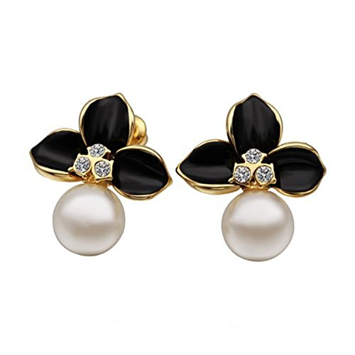 Arlumi 10mm Freshwater Cream Pearl Pave Swarovski Elements Crystal Black Flower Stud Earrings Gold-plated