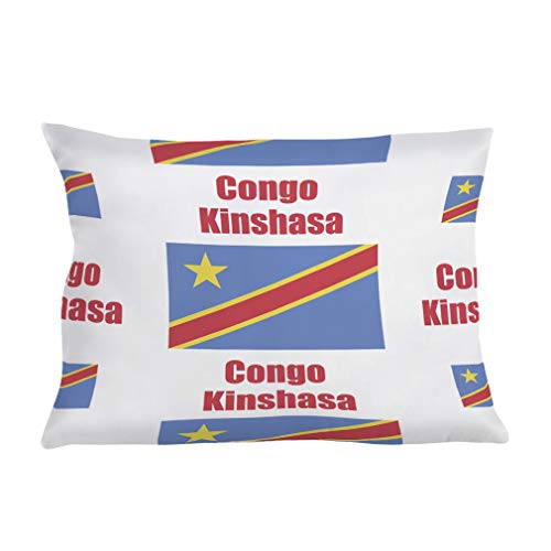Style In Print Personalized Pillow Case Congo Kinshasa Country Flag Polyester Pillow Cover 20INx28IN Design Only Set of - Congo Kinshasa Flag