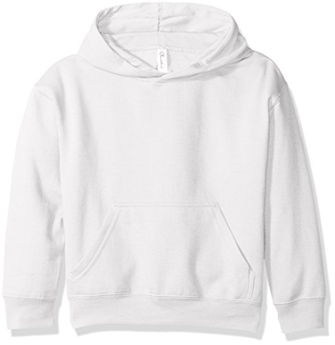 Clementine Apparel Girls' Big (7-16) Apparel Youth Hooded Pullover Sweatshirt with Pouch Pocket, White M