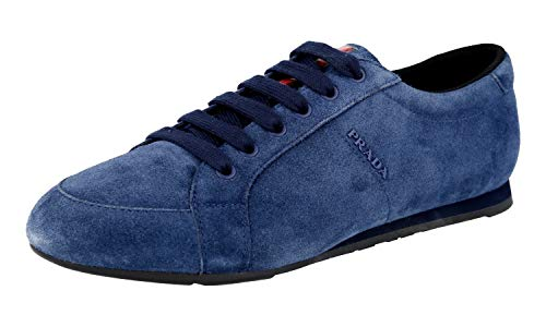 Sneakers Prada Suede - Prada Men's 4E3234 O53 F0021 Blue Leather Sneaker EU 9.5 (43,5) / US 10.5