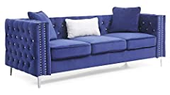 Covered in Soft Velvet Jeweled Buttoned Tufted on the Outside and Inside of the arms and Backs and Pocketed Coil Cushion Seats Make this Set Comfortable and Stylish Nailhead trimmed and finished off with Chrome Plated Legs , It also includes ...