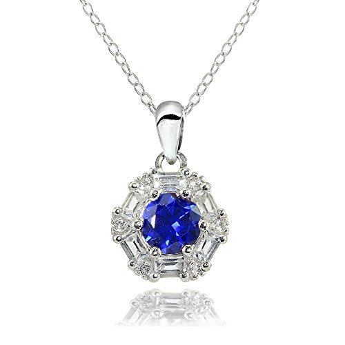Baguette Round Necklace (Sterling Silver Created Blue Sapphire and White Topaz Baguette & Round-Cut Fashion Necklace)