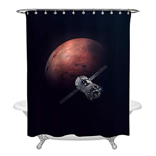 Mars Curtain - MitoVilla Astronomy and Science Theme Home Decor, Planet Mars and Space Ship Bathroom Curtain with Dark Background, Polyester Fabric, for Men and Boys, Dark Blue, 72 x 72 Inches for Tub