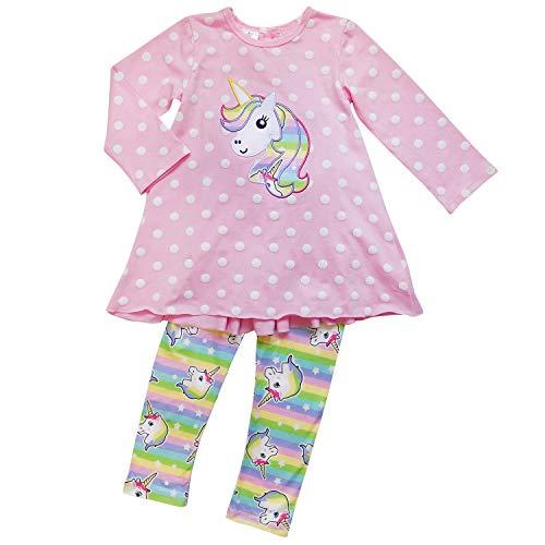 So Sydney Toddler Girls 2-3 Pc Unicorn Print Tunic Top, Leggins, Infinity Scarf Tutu Outfit (S (3T), Pink Polka Tunic) -