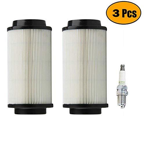 Podoy 500 Air filter for Polaris Sportsman 7080595 Scrambler Magnum 400 600 700 800 550 850 with BKR5E Spark Plug (Pack of 2)