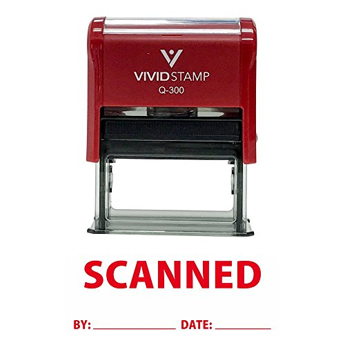 (Scanned by Date Self Inking Rubber Stamp (Red Ink) Large)