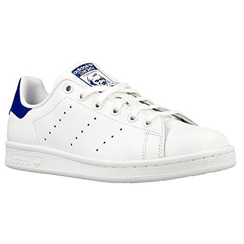 adidas Originals Boys' Stan Smith J Skate Shoe, White/White/Equipment Blue, 3.5 Medium US Big Kid