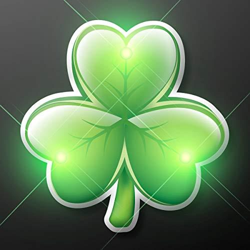 Shamrock Led Pins - Irish Shamrock Blinky LED Lapel Pin by FlashingBlinkyLights