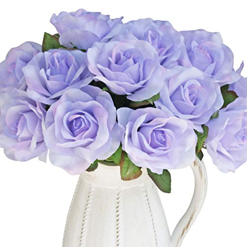 - 12 Lavender Rose Artificial Flowers | Wedding Decorations | Wedding Centerpieces | Home Decor (12 inch)