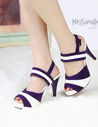 ShangYi Womens Shoes Heel Heels / Peep Toe Sandals / Heels Outdoor / Office & Career / Casual Black / Blue / Purple / Red/L2-1 Red
