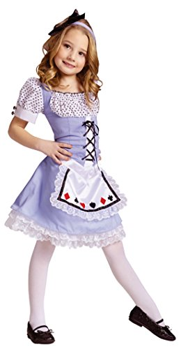 Girls Alice In Wonderland Kids Child Fancy Dress Party Halloween Costume, S (4-6) (Toddler Alice In Wonderland Costume)