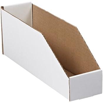 "Aviditi BINEB123 Corrugated Open Top Bin Box, 12"" Length x 3"" Width x 4-1/2"" Height, Oyster White (Case of 50)"