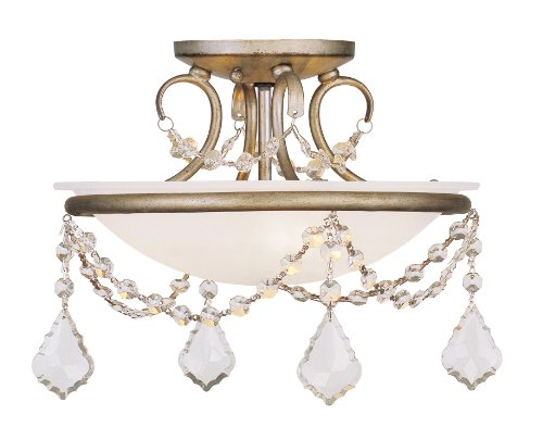 Livex Lighting 6523-73 Chesterfield/Pennington 2 Light Ceiling Mount, Hand Painted Antique Silver Leaf - Hand Painted Ceiling Light