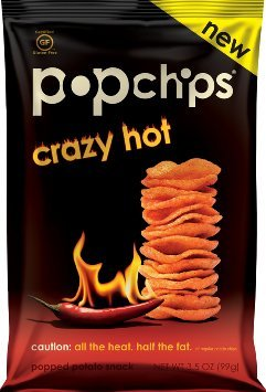 Pop Chips (Crazy Hot Chips) (12 Pack - .07 Oz. Bags) No added preservatives, No artificial flavors, No synthetic colors, No cholesterol, real spicy!
