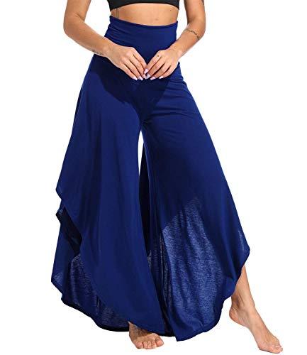 Flared Leg Jeans Pants - KIWI RATA Women's Elegant Palazzo Split Flared Skirt Bootleg Pants Boho Wide Leg High Waist Loose Trousers