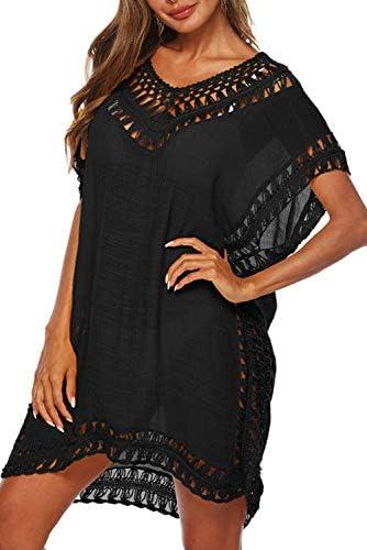 Adisputent Swimsuit Cover Ups for Women Mesh Beach Cover Ups Crochet Chiffon Tassel Bathing Suit Bikini Wear Coverups Dress