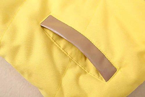 Button Pocket Short DianShao Warm Yellow Keep with Padded Sleeveless Women Hood Vest Coat AzqPCw