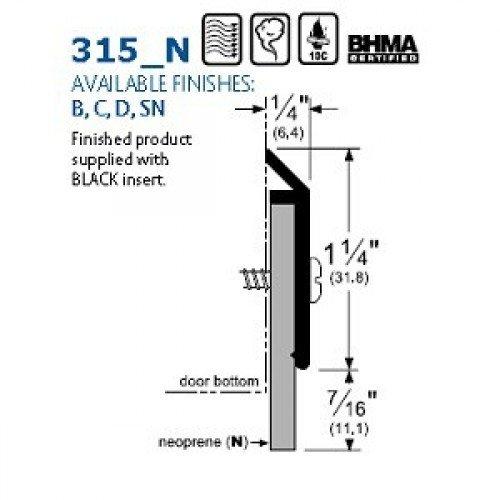 Pemko Door Bottom Sweep 0.25 W x  x 1.6875 H x 48 L Clear Anodized Aluminum with Black Neoprene Insert