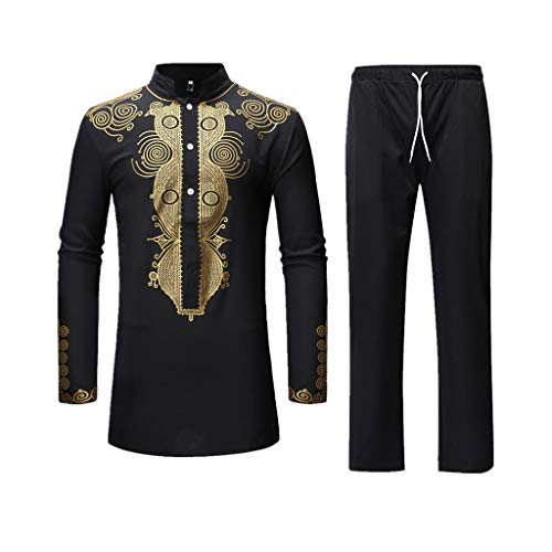 (Men's Casual African Dashiki Print Two Piece Outfit Long Sleeve Slim Fit Hipster Shirt Pants Set (A-Black, M))