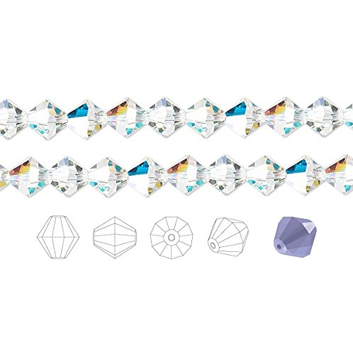 Preciosa Czech Crystal Beads Clear AB Faceted Bicone 4mm Package of - Bicone 4mm Crystal Beads Faceted