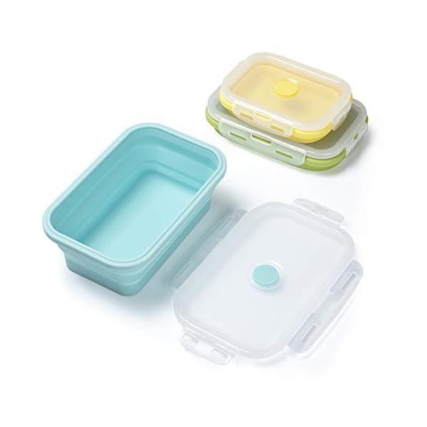 414vZ%2B7lr0L Czemo Faltbare Frischhaltedosen Silikon Zusammenklappbaren Container, Bento Lunchboxen, Faltbare Brotbox, Camping…