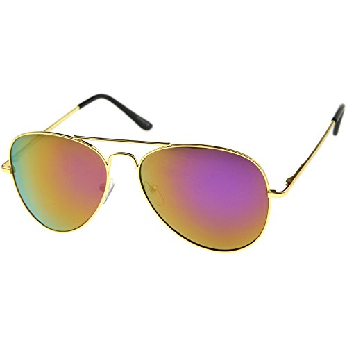 zeroUV - Premium Full Mirrored Aviator Sunglasses w/Flash Mirror Lens (Gold/Purple)