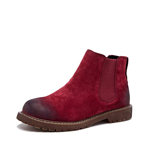 Retro Women's Tribble Winter Pattern Wipe Boots Jeff Fashion Red Color Flat Autumn Boots Shoes Short BzxCzqw