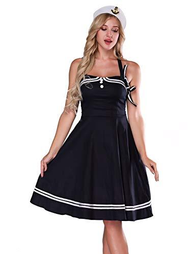 baqijian Sailor Costume Women Halter Vintage Dress Pinup Retro Sexy Sailor Costume -