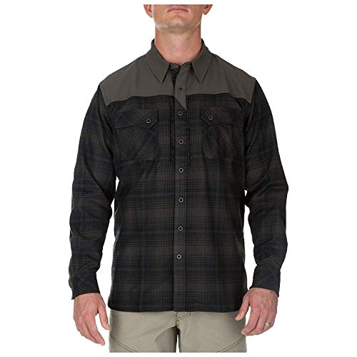 5.11 Tactical Men's Poly Sidewinder Flannel Shirt w/ Chest Pockets, Grenade, Style 72446